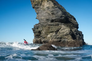 Sea kayaking in the white water near Portreath