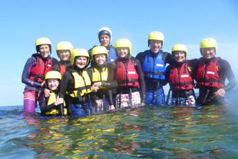 family coasteering on the lizard